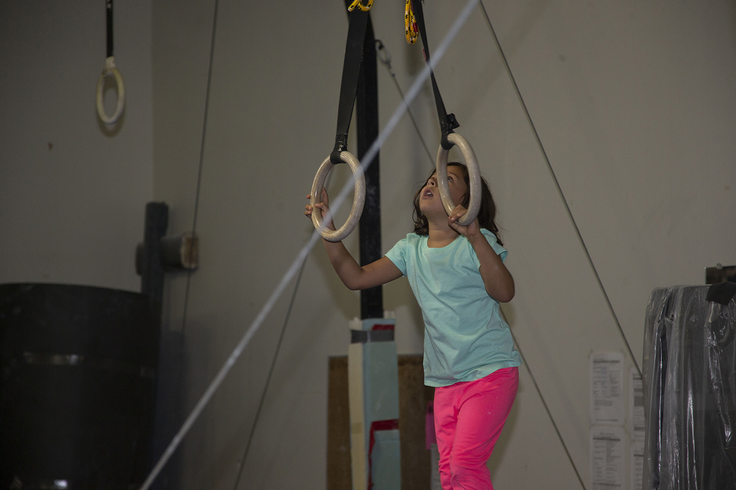 Emilia Cryer plays during a class at Gym Nest in Iowa City on Sunday, Sept. 8, 2019. Gym Nest has begun offering gym classes to children on the autism spectrum and their siblings.