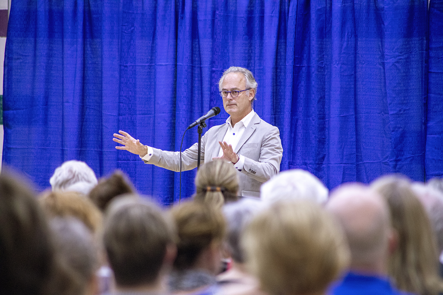 Amor Towles discusses his book, A Gentleman in Moscow, at the North Liberty Recreation Center on Monday, Sept. 9, 2019.