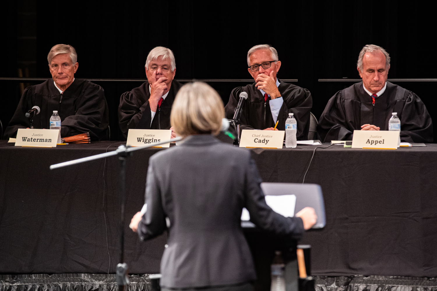 Justices listen to the argument of Melinda Nye in regards to the appeal of Lamar Wilson during a special session of the Iowa Supreme Court in Muscatine, IA on Tuesday, September 10, 2019.