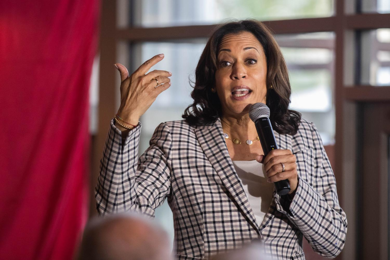 Senator Kamala Harris, D-CA, addresses supporters at Backpocket Brewery on Thursday, September 19, 2019.