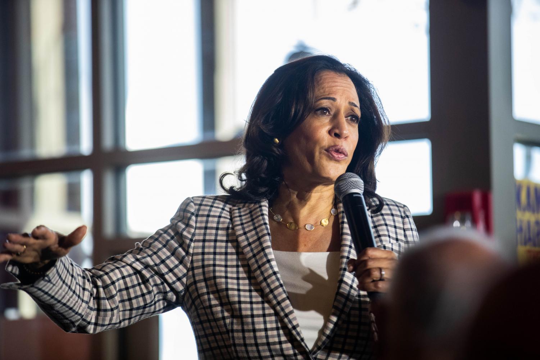 Senator Kamala Harris, D-CA, addresses supporters at Backpocket Brewery on Thursday, September 19, 2019.