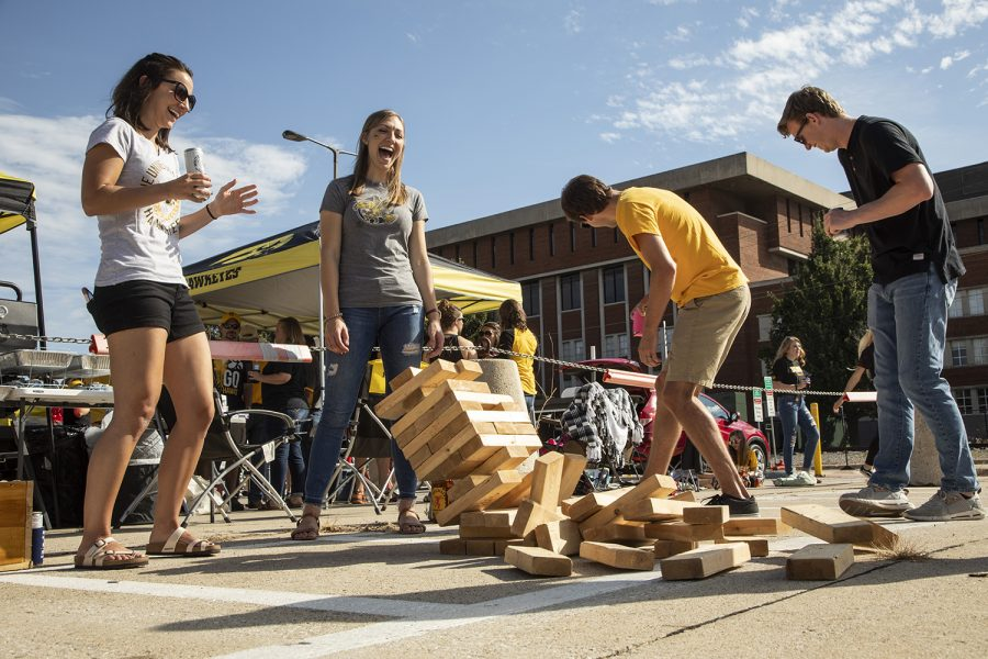 Tailgaters play a game of jenga during the tailgate before the Iowa vs. Rutgers game on September 7, 2019. This is the second game in the Hawkeye's football season.