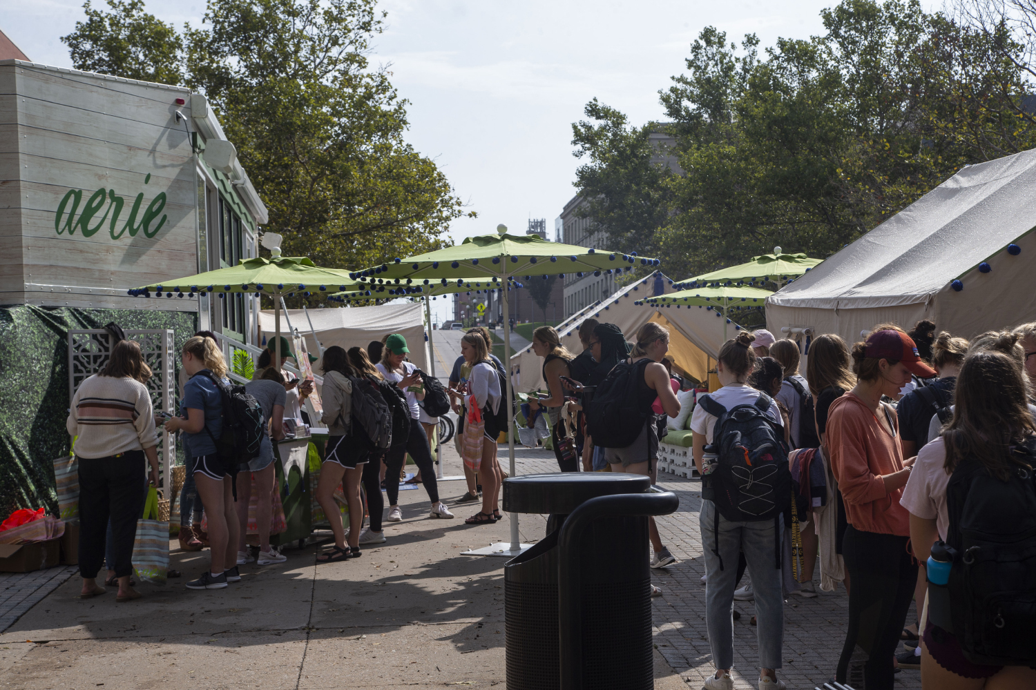Students stand in line by the Aeirie tents outside of the Adler Journalism building on Thursday, Sept. 12, 2019. Aeirie is a sub-brand of American Eagle. (Katie Goodale/The Daily Iowan)