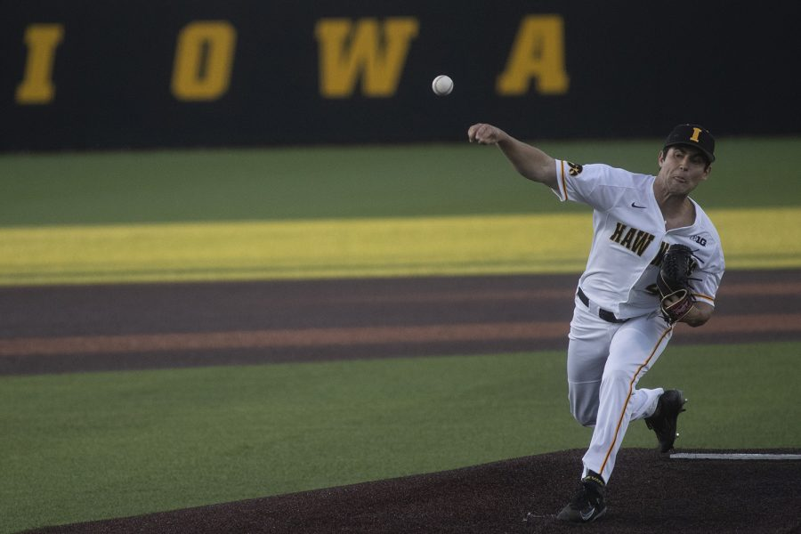 Iowa+pitcher+Grant+Leonard+throws+a+pitch+during+a+game+against+Ontario+at+Duane+Banks+Field+on+Friday%2C+September+13%2C+2019.+The+Hawkeyes+defeated+the+Blue+Jays++30-6+in+14+innings.