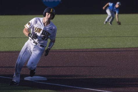 Iowa catcher Brett McCleary rounds third base during a game against Ontario at Duane Banks Field on Friday, September 13, 2019. The Hawkeyes defeated the Blue Jays  30-6 in 14 innings.