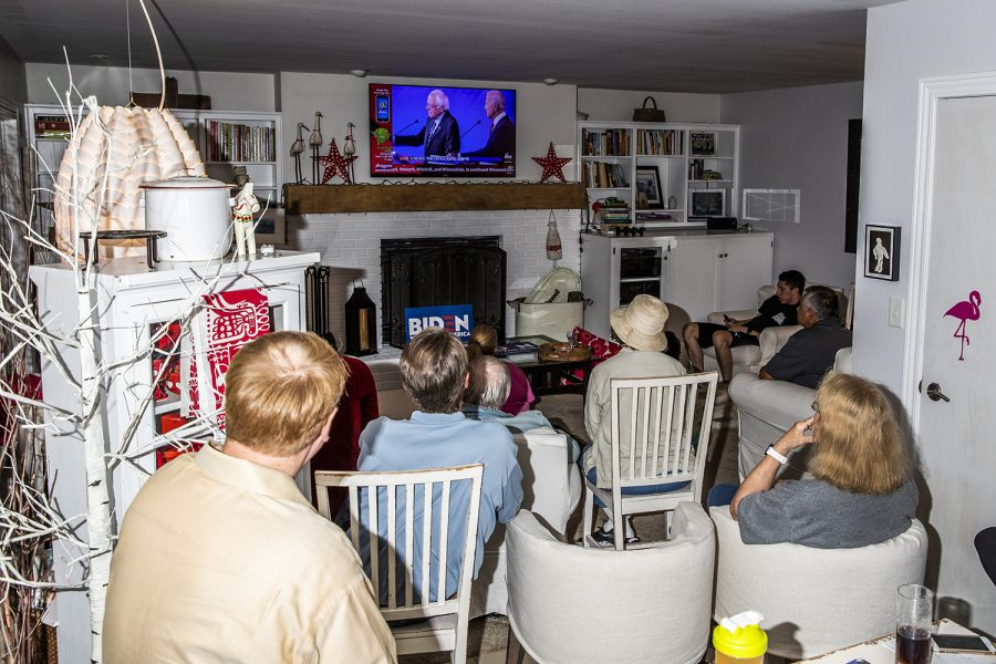 Supporters listen during a watch party for former Vice President Joe Biden on Thursday, September 12, 2019. Biden emphasized his support for expanding the Affordable Care Act as opposed to Medicare for All. (Katina Zentz/The Daily Iowan)