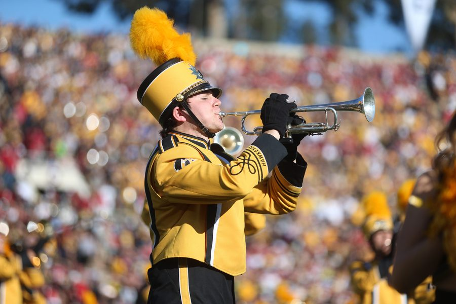 A Hawkeye Marching Band member plays before the Rose Bowl Game in Rose Bowl Stadium in Pasadena, California on Friday, Jan. 1, 2016. Stanford defeated Iowa, 45-16.