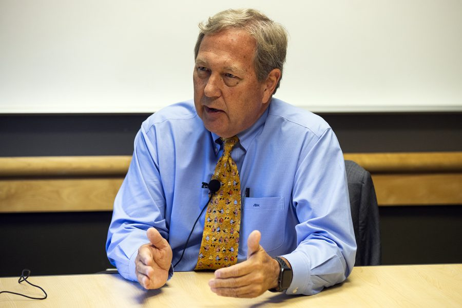 UI President Bruce Harreld answers a question in the Adler Journalism Building on Monday, September 23, 2019.