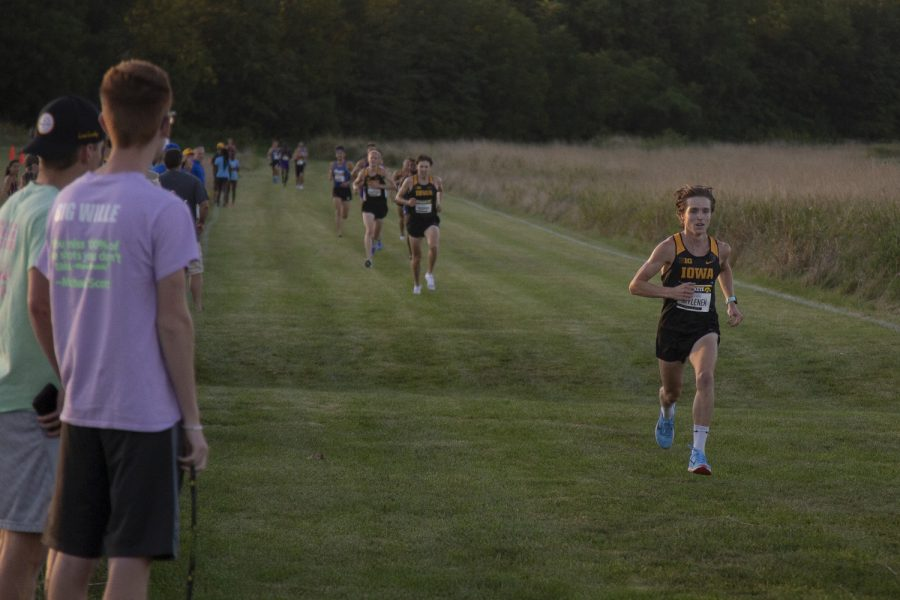 Iowa's Nathan Mylenek picks up speed as he approaches the finish line of the men's 6k during the Hawkeye Invitational at Ashton Cross Country Course on Friday, September 6, 2019. Mylenek finishd second with a time of 18:16.0. The Hawkeyes defeated six other teams to finish first overall for both men's and women's races.