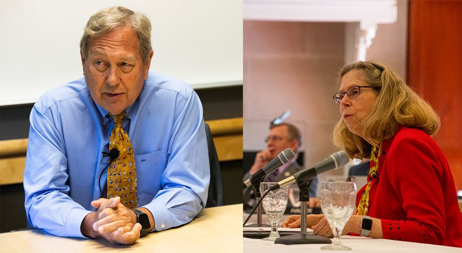 Left: UI President Bruce Harreld speaks to the DI on Sept. 23 in the Adler Journalism Building. Right: ISU President Wendy Wintersteen gives a presentation to the state Board of Regents during a meeting at the Iowa State Alumni Center in Ames on June 6.