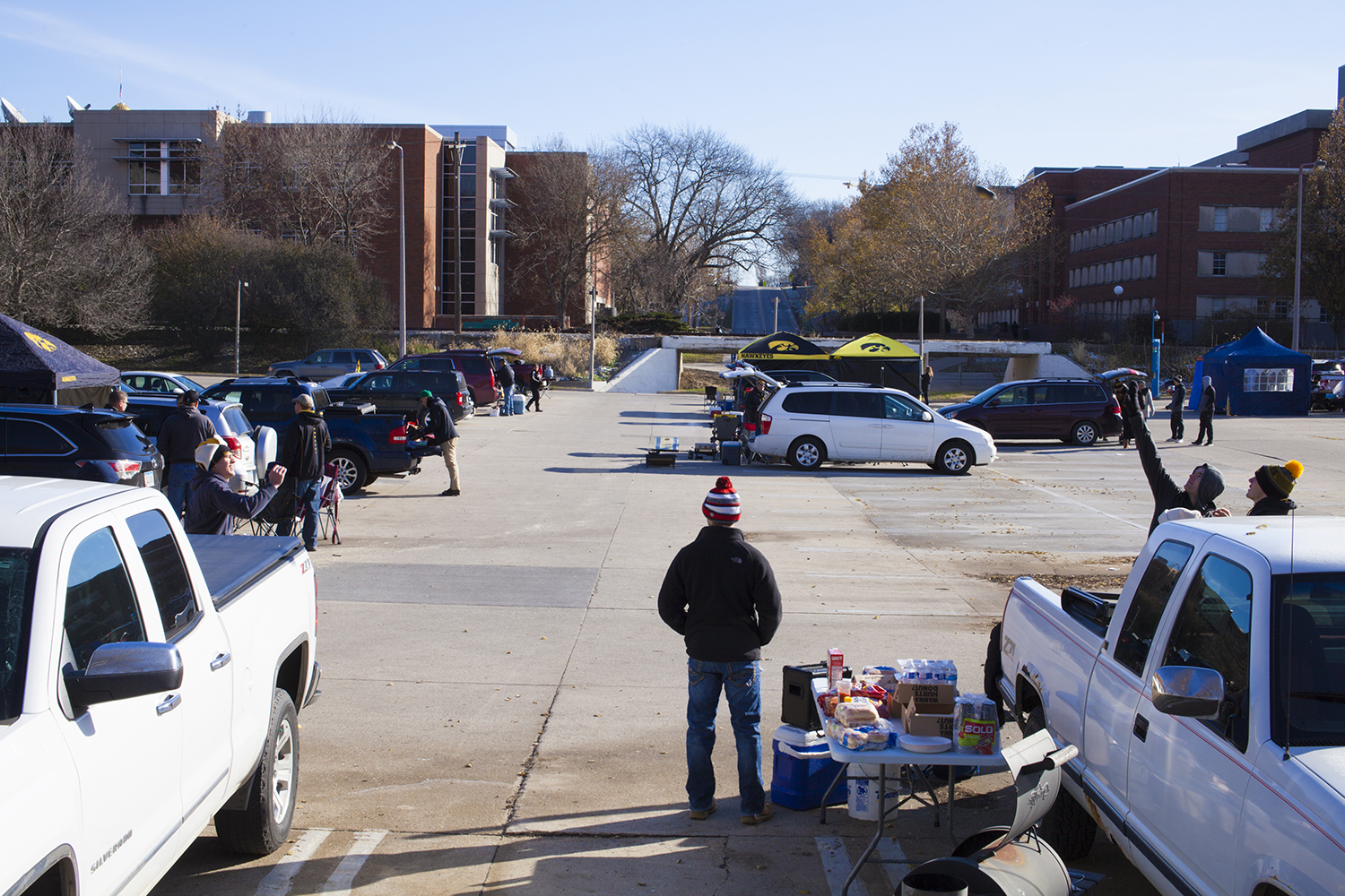 Saturday, November 10, 2018. Fans tailgate in the Adler parking lot for the Iowa vs Northwestern game.