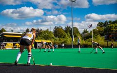 Iowa forward Maddy Murphy prepares for a penalty corner during a field hockey match between Iowa and California on Friday, September 13, 2019. The Hawkeyes defeated the Bears, 4-2.