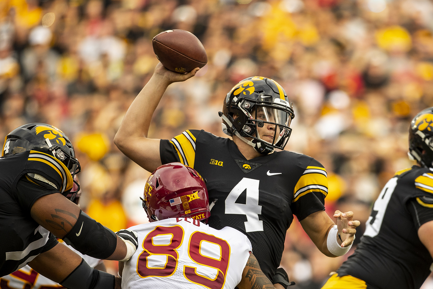 Iowa quarterback Nate Stanley throws under pressure during Iowa's game against Iowa State at Kinnick Stadium on Saturday, September 8, 2018. The Hawkeyes defeated the Cyclones 13-3.