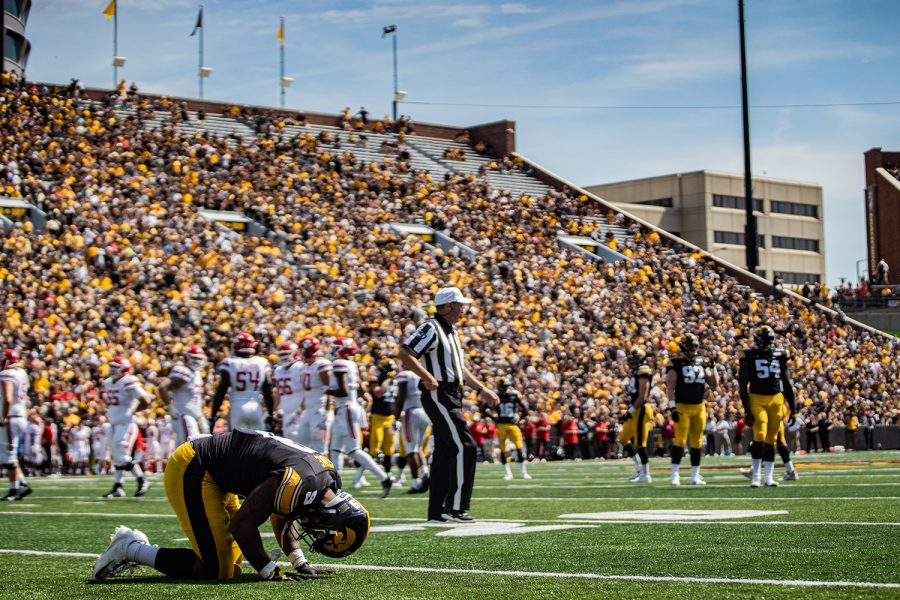 Iowa+defensive+back+Geno+Stone+sits+injured+on+the+field+during+a+football+game+between+Iowa+and+Rutgers+at+Kinnick+Stadium+on+Saturday%2C+September+7%2C+2019.+The+Hawkeyes+defeated+the+Scarlet+Knights%2C+30-0.+%28Shivansh+Ahuja%2FThe+Daily+Iowan%29