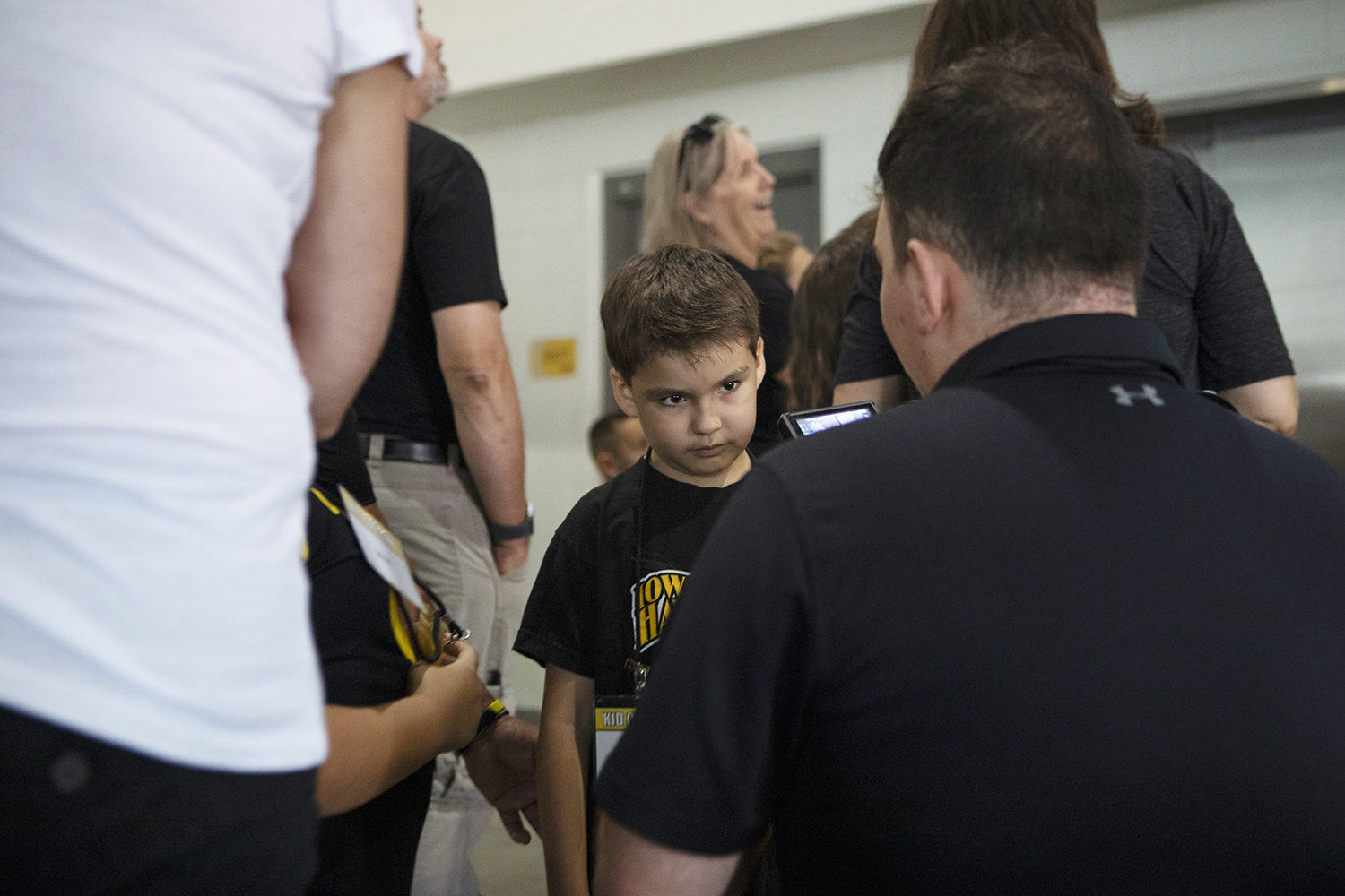 Kid Captain Jackson Tijerina talks to a reporter at Kids Day at Kinnick on Saturday, August 10, 2019. Kids Day at Kinnick is an annual event for families to experience Iowa's football stadium, while watching preseason practice and honoring this year's Kid Captains.