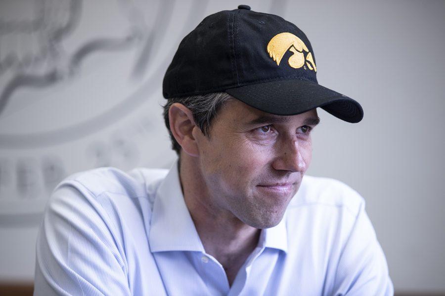Beto+O%27Rourke+sits+down+for+an+interview+with+Daily+Iowan+staff+in+the+IMU+on+April+7%2C+2019.+O%27Rourke+will+be+running+for+the+democratic+nomination+for+president.+