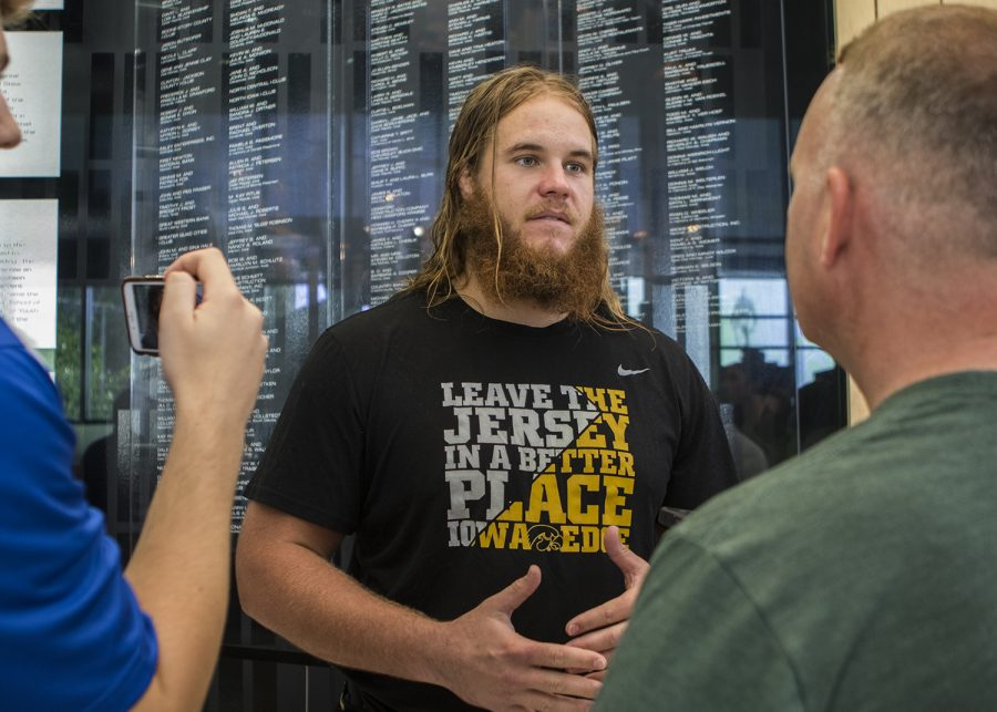Iowa football offensive lineman Levi Paulsen speaks to members of the media during media availability at the Hansen Football Performance Center on Tuesday, August 28, 2018. The Hawkeyes begin their season on Saturday, September 1, against Northern Illinois, at Kinnick Stadium. (Lily Smith/The Daily Iowan)