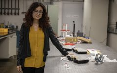 Assistant Professor of Mechanical Engineering Caterina Lamuta poses for a portrait in a lab in the Advanced Technology Lab on Wednesday, September 25, 2019. The research for the material is still ongoing.