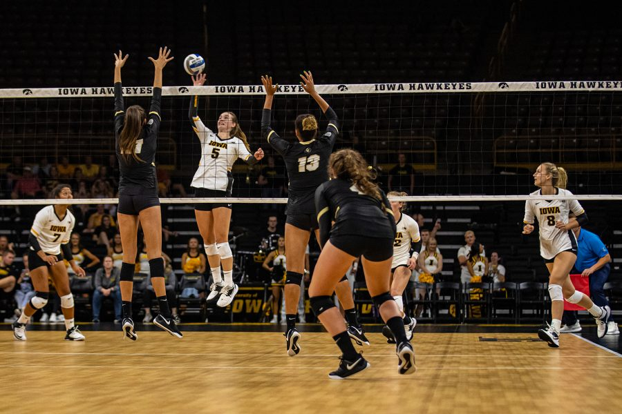 Iowa+outside+hitter+Meghan+Buzzerio+goes+for+a+kill+during+a+volleyball+match+between+Iowa+and+Colorado+in+Carver-Hawkeye+Arena+on+Friday%2C+September+6%2C+2019.+The+Hawkeyes+dropped+their+season+opener+to+the+Buffaloes%2C+3-0.