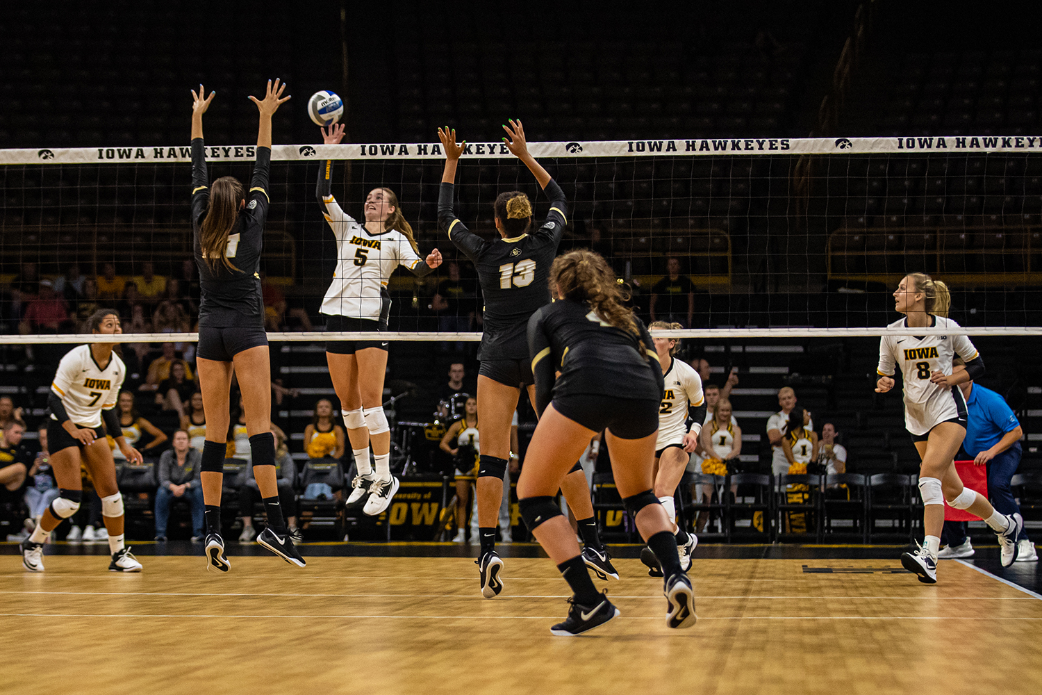 Iowa outside hitter Meghan Buzzerio goes for a kill during a volleyball match between Iowa and Colorado in Carver-Hawkeye Arena on Friday, September 6, 2019. The Hawkeyes dropped their season opener to the Buffaloes, 3-0.