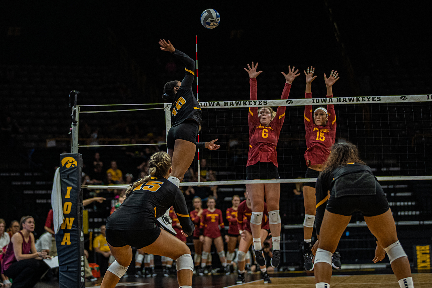 Iowa outside hitter Griere Hughes goes for a kill during a volleyball match between Iowa and Iowa State at Carver-Hawkeye Arena on Saturday, September 21, 2019. The Hawkeyes fell to the visiting Cyclones, 3-2.