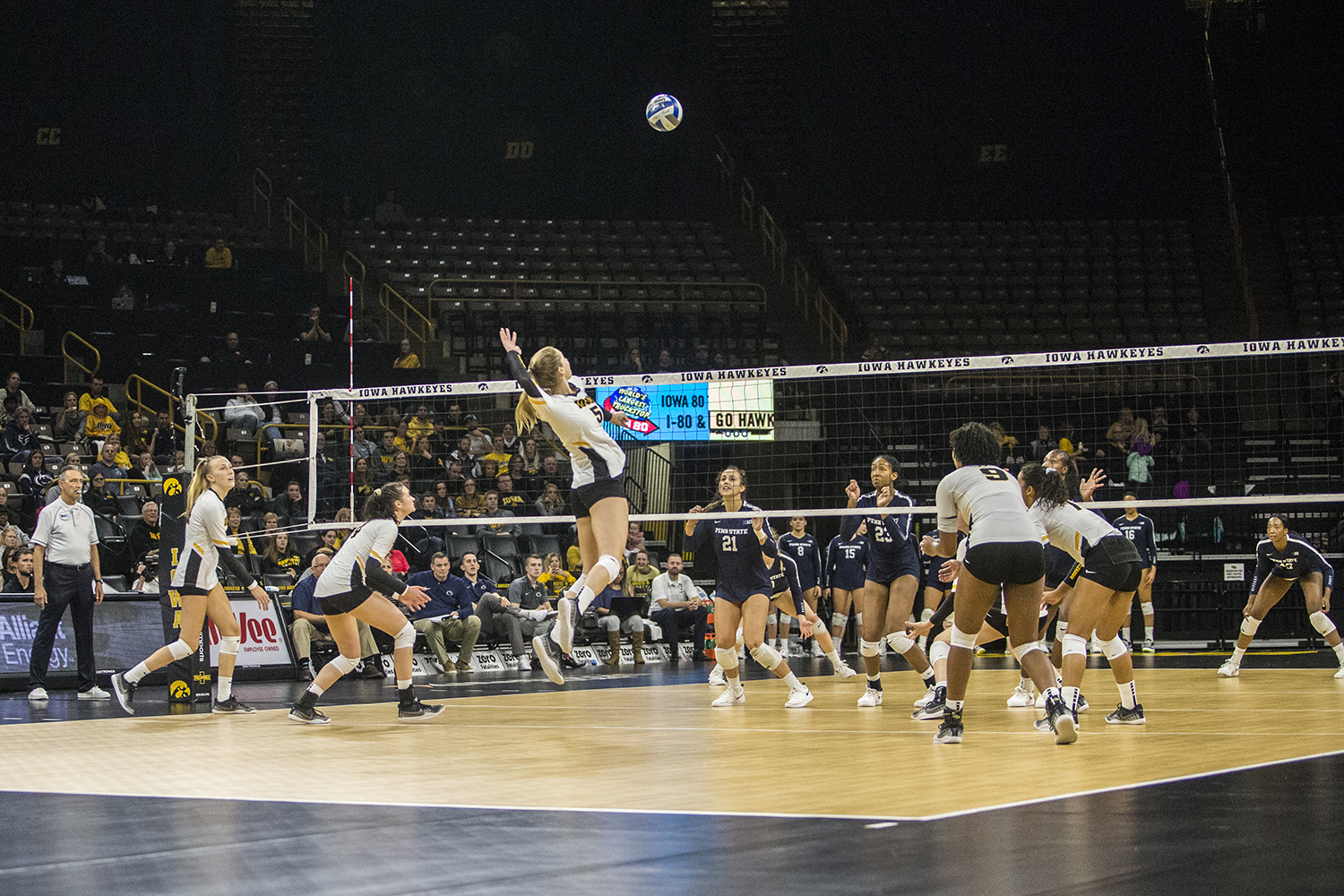 Iowa junior Meghan Buzzerio prepares to spike the ball during a volleyball match between Iowa and Penn State at Carver-Hawkeye Arena on Saturday, November 3, 2018. The Hawkeyes were shut out by the Nittany Lions, 3-0. (Shivansh Ahuja/The Daily Iowan)
