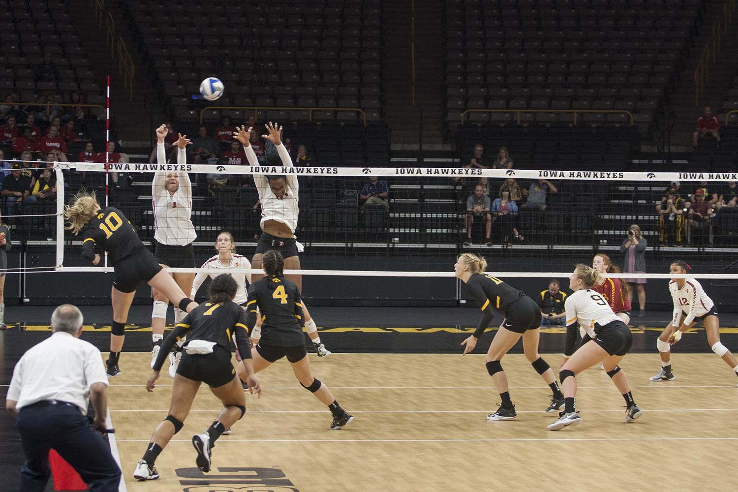 Iowa OH Claire Sheehan attacks the ball during the match between Iowa and Iowa State inside Carver-Hawkeye Arena on Friday, September 8, 2017. The Hawkeyes fell to the Cyclones 3-1. (Shivansh Ahuja/The Daily Iowan)