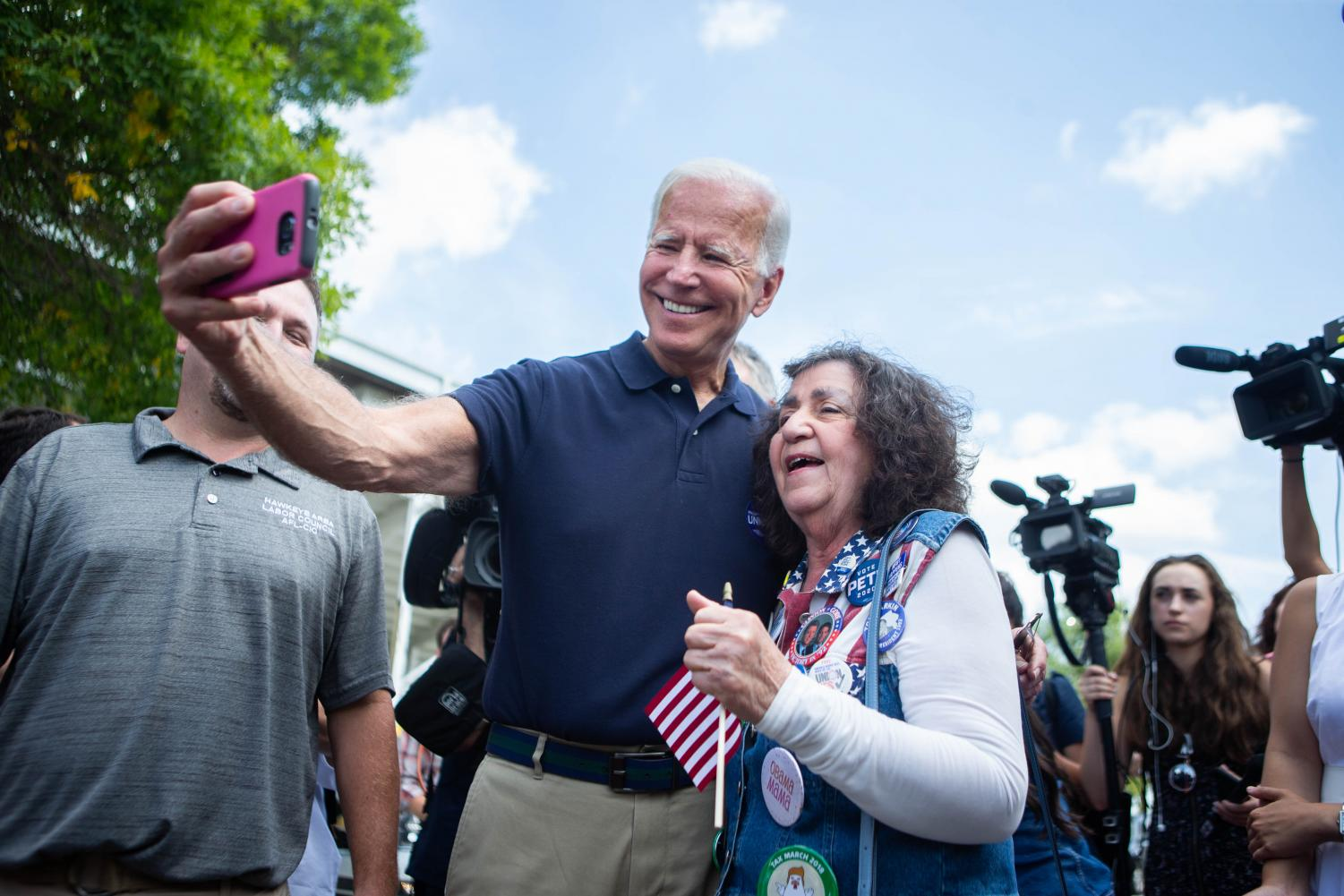 Former+Vice+President+Joe+Biden+takes+a+selfie+with+a+supporter+during+the+Hawkeye+Area+Labor+Council+Picnic+at+Hawkeye+Downs+on+Monday%2C+September+2%2C+2019.+