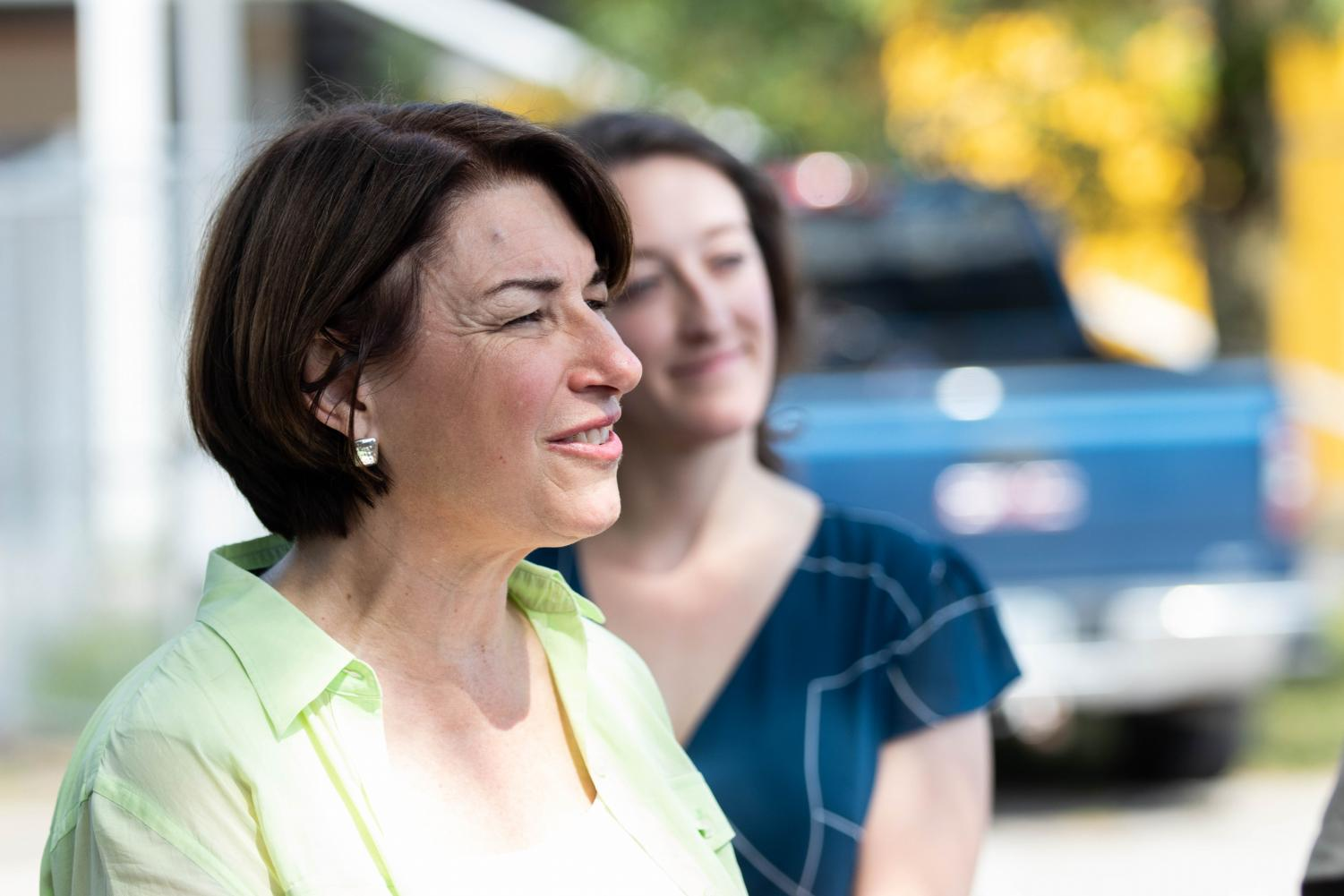 Sen.+Amy+Klobuchar%2C+D-MN%2C+speaks+to+the+media+during+the+Hawkeye+Area+Labor+Council+Picnic+at+Hawkeye+Downs+on+Monday%2C+September+2%2C+2019.+