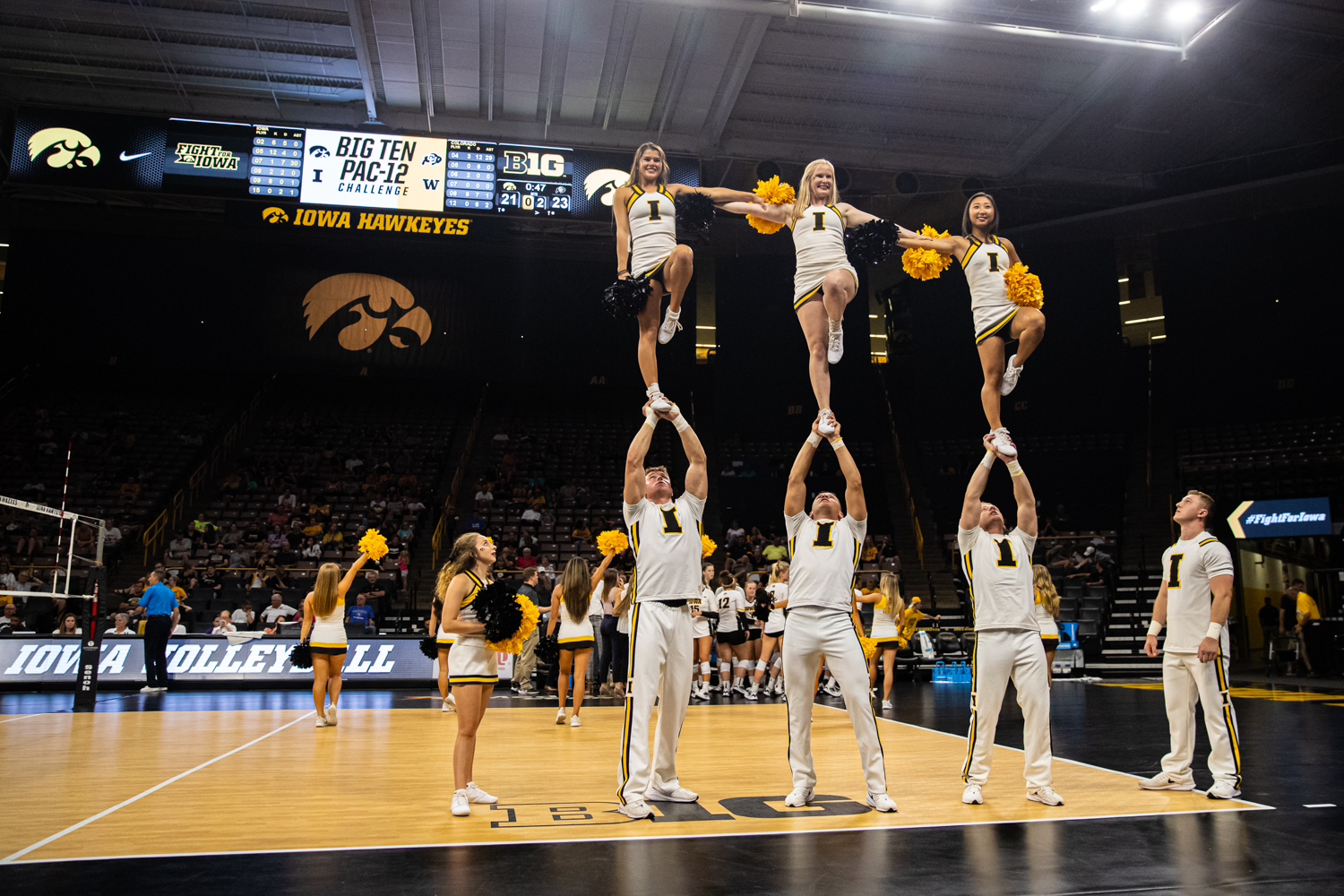 Iowa+spirit+teams+perform+during+a+timeout+during+a+volleyball+match+between+Iowa+and+Colorado+in+Carver-Hawkeye+Arena+on+Friday%2C+September+6%2C+2019.+The+Hawkeyes+dropped+their+season+opener+to+the+Buffaloes%2C+3-0.