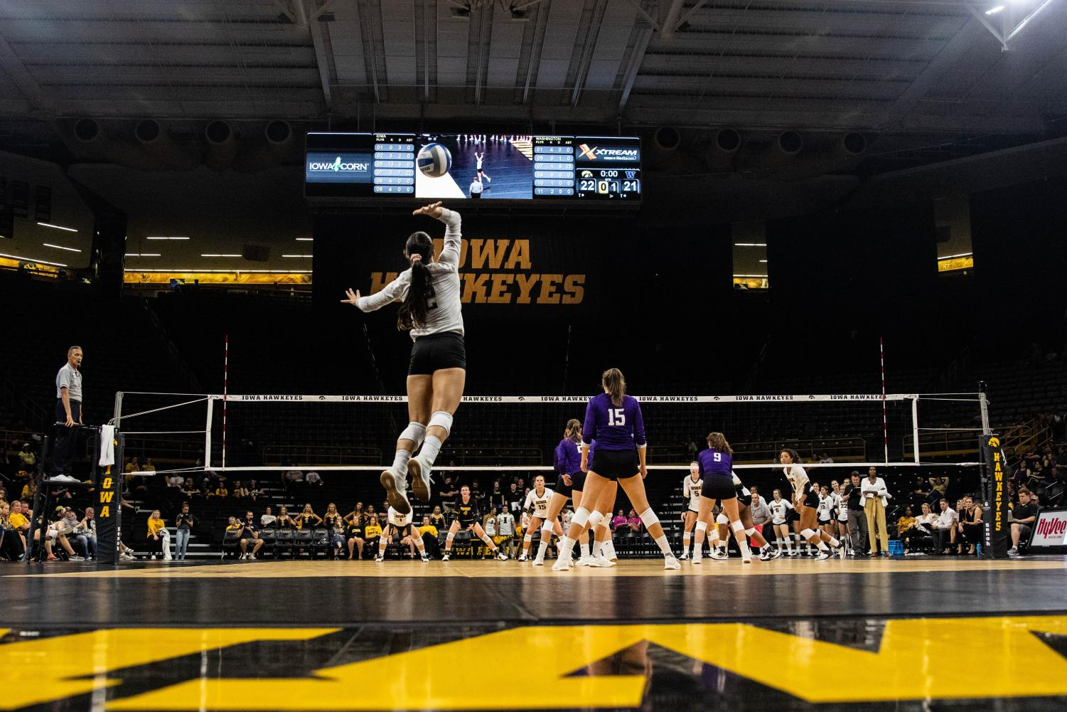 Washington+libero+Shayne+McPherson+serves+the+ball+during+a+volleyball+match+between+Iowa+and+Washington+at+Carver+Hawkeye+Arena+on+Saturday%2C+September+7%2C+2019.+The+Hawkeyes+were+defeated+by+the+Huskies%2C+3-1.