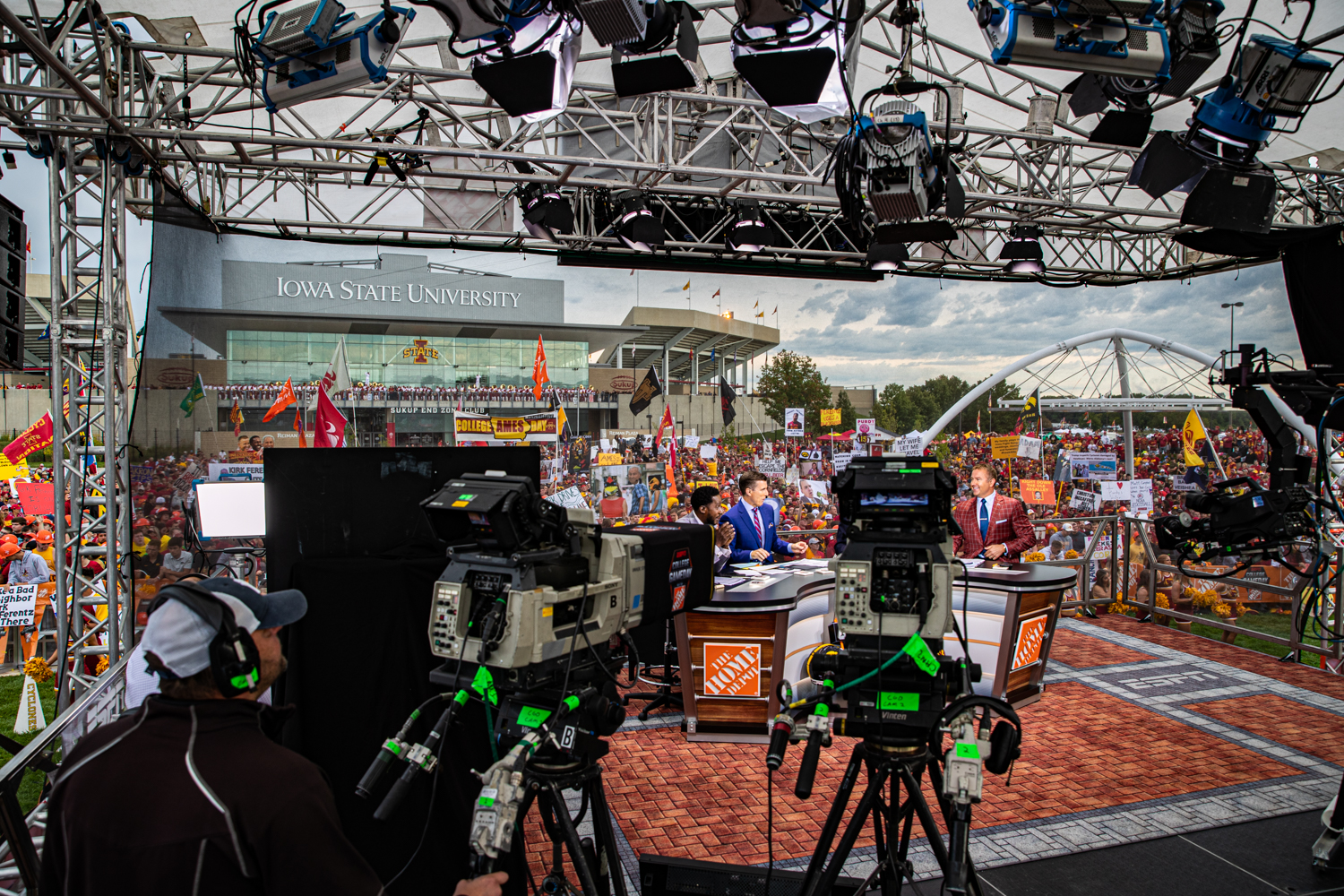 Anchors host during ESPN College GameDay before the annual Cy-Hawk football game between Iowa and Iowa State in Ames on Saturday, Sept. 14, 2019. This was GameDay's first visit to Ames.