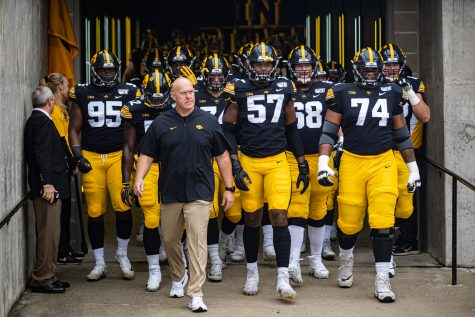 Iowa players walk out of the tunnel before a football game between Iowa and Middle Tennessee State at Kinnick Stadium on Saturday, September 28, 2019. The Hawkeyes defeated the Blue Raiders, 48-3.