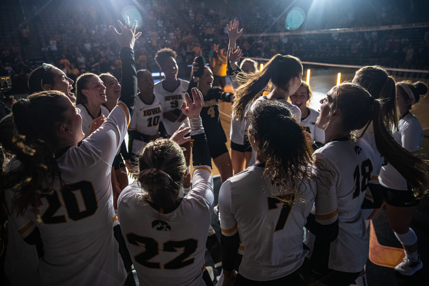 Iowa+players+are+introduced+during+a+volleyball+match+between+Iowa+and+Colorado+in+Carver-Hawkeye+Arena+on+Friday%2C+September+6%2C+2019.+The+Hawkeyes+dropped+their+season+opener+to+the+Buffaloes%2C+3-0.