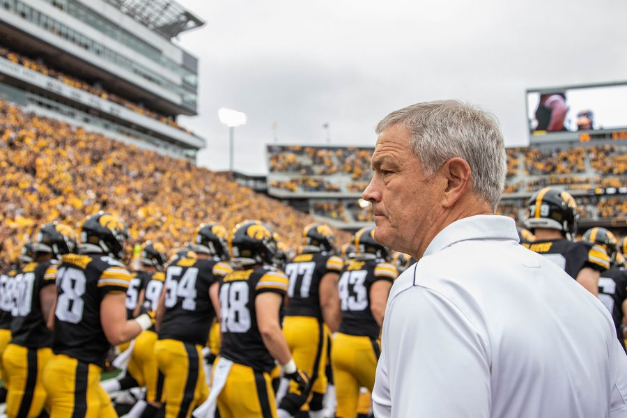 Iowa+head+coach+Kirk+Ferentz+watches+his+players+swarm+the+field+before+a+football+game+between+Iowa+and+Middle+Tennessee+State+University+on+Saturday%2C+September+28%2C+2019.+The+Hawkeyes+defeated+the+Blue+Raiders+48-3.