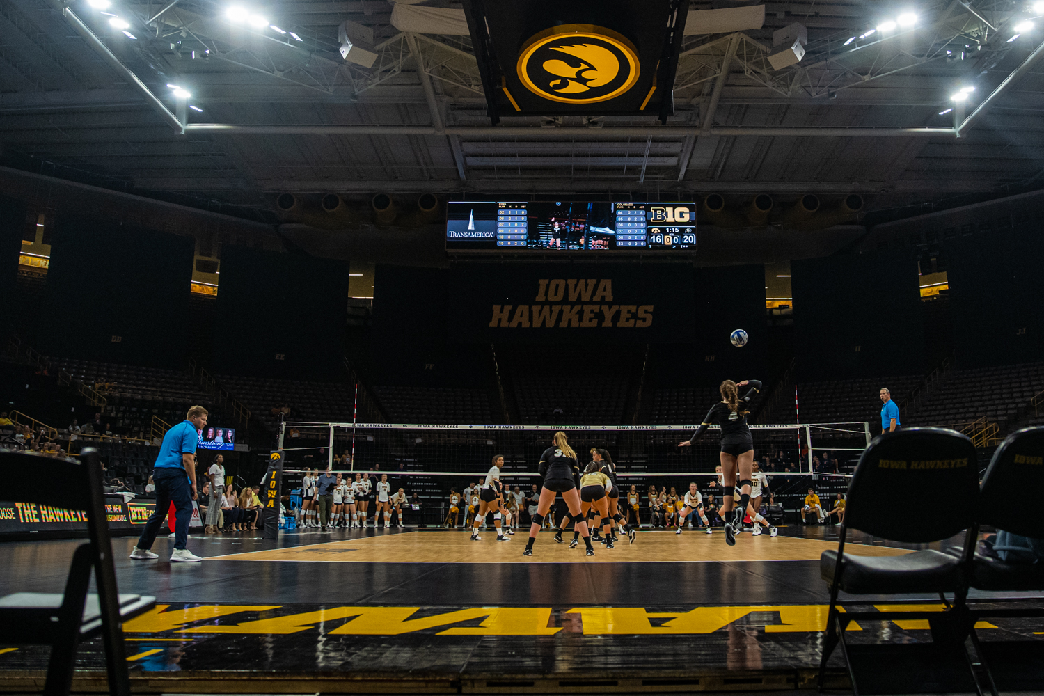 Colorado+setter+Jenna+Ewert+serves+the+ball+during+a+volleyball+match+between+Iowa+and+Colorado+in+Carver-Hawkeye+Arena+on+Friday%2C+September+6%2C+2019.+The+Hawkeyes+dropped+their+season+opener+to+the+Buffaloes%2C+3-0.
