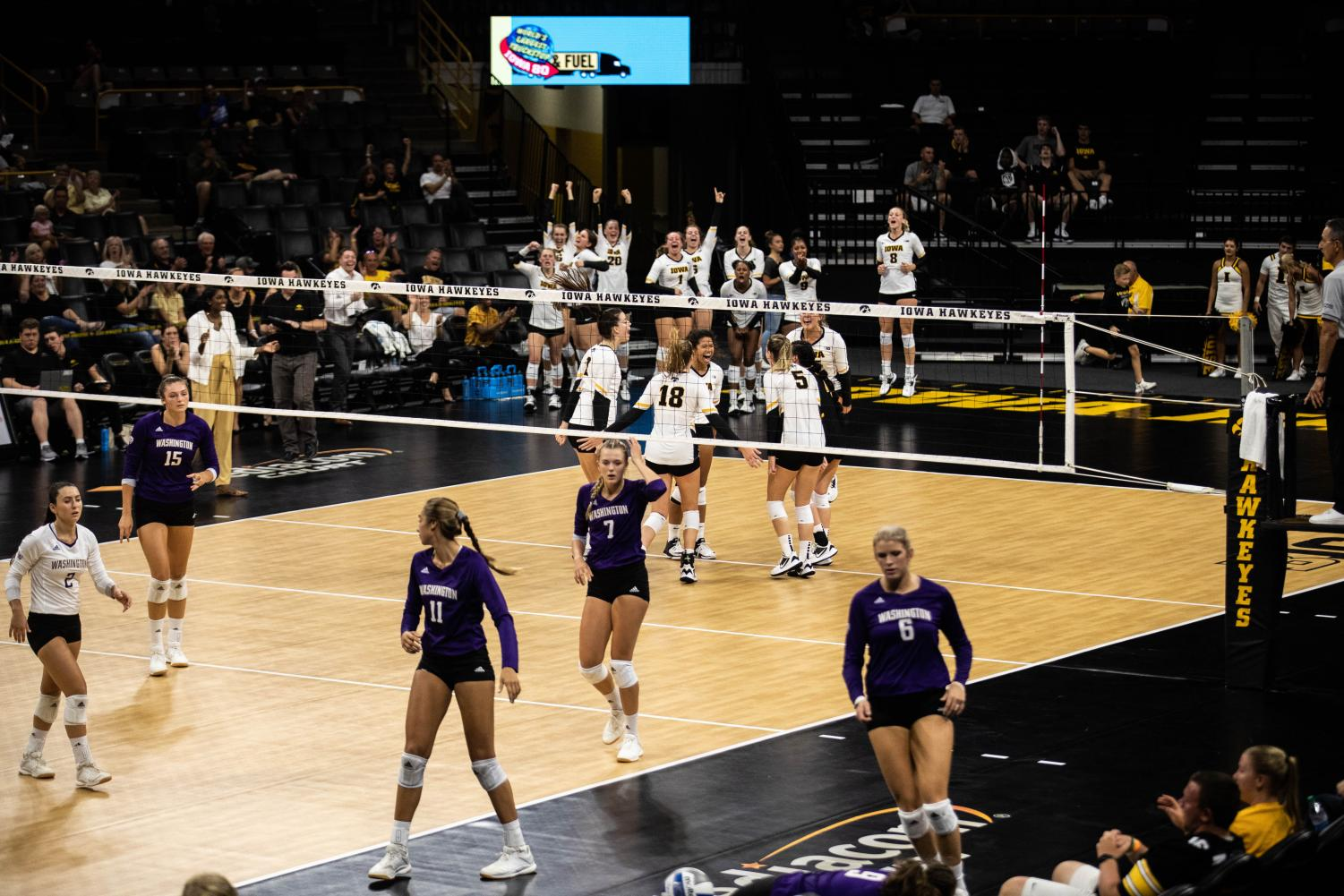 Iowa+players+celebrate+a+point+during+a+volleyball+match+between+Iowa+and+Washington+at+Carver+Hawkeye+Arena+on+Saturday%2C+September+7%2C+2019.+The+Hawkeyes+were+defeated+by+the+Huskies%2C+3-1.