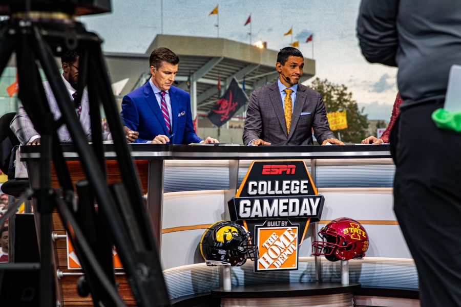 Rece Davis (left) and David Pollack host during ESPN College GameDay before the annual Cy-Hawk football game between Iowa and Iowa State in Ames on Saturday, Sept. 14, 2019. This was GameDays first visit to Ames.