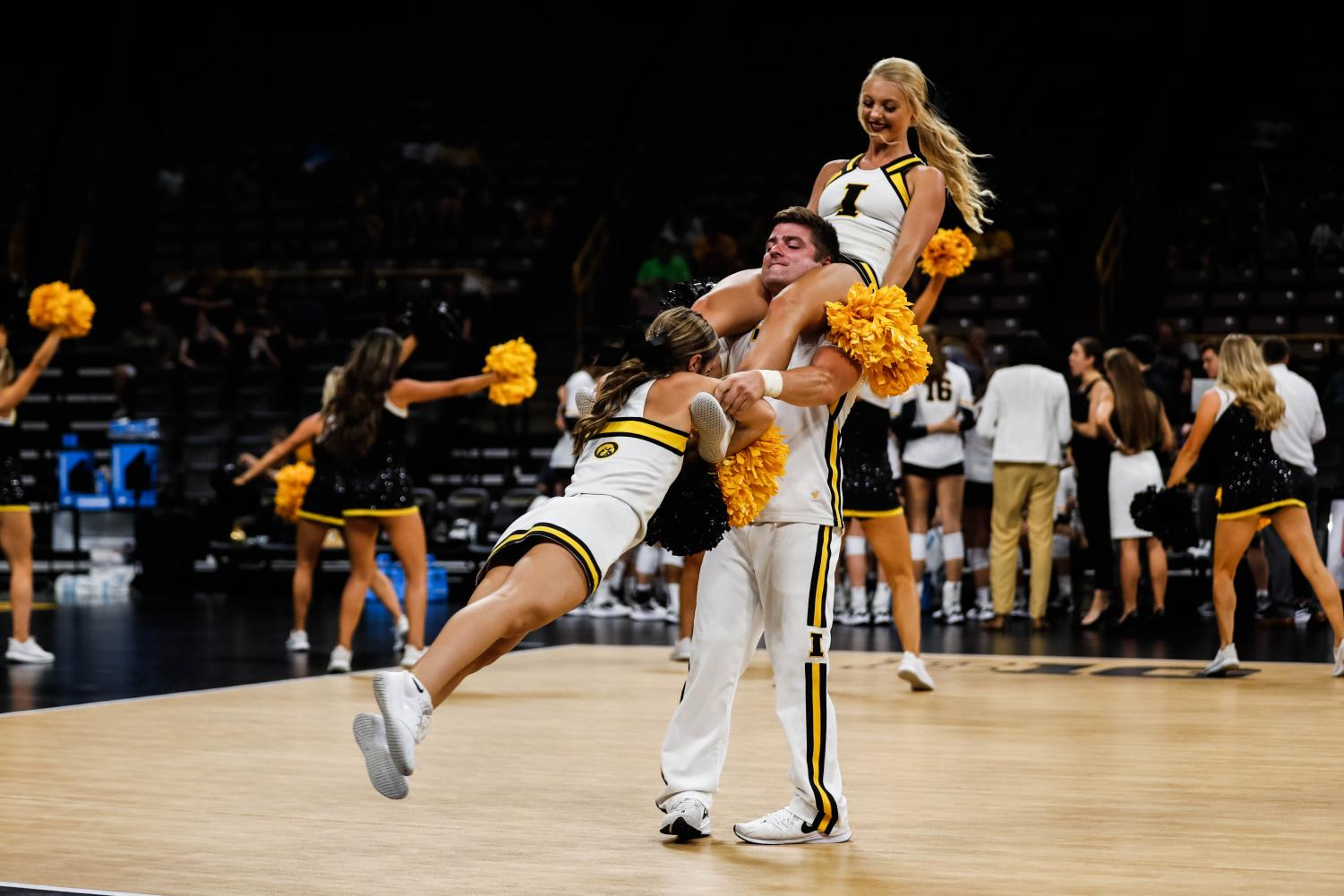 Iowa+cheerleaders+do+the+helicopter+during+a+volleyball+match+between+Iowa+and+Washington+at+Carver+Hawkeye+Arena+on+Saturday%2C+September+7%2C+2019.+The+Hawkeyes+were+defeated+by+the+Huskies%2C+3-1.