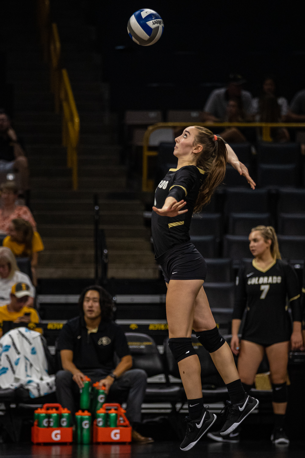 Colorado+outside+hitter+Zoe+Neverdowski+serves+the+ball+during+a+volleyball+match+between+Iowa+and+Colorado+in+Carver-Hawkeye+Arena+on+Friday%2C+September+6%2C+2019.+The+Hawkeyes+dropped+their+season+opener+to+the+Buffaloes%2C+3-0.