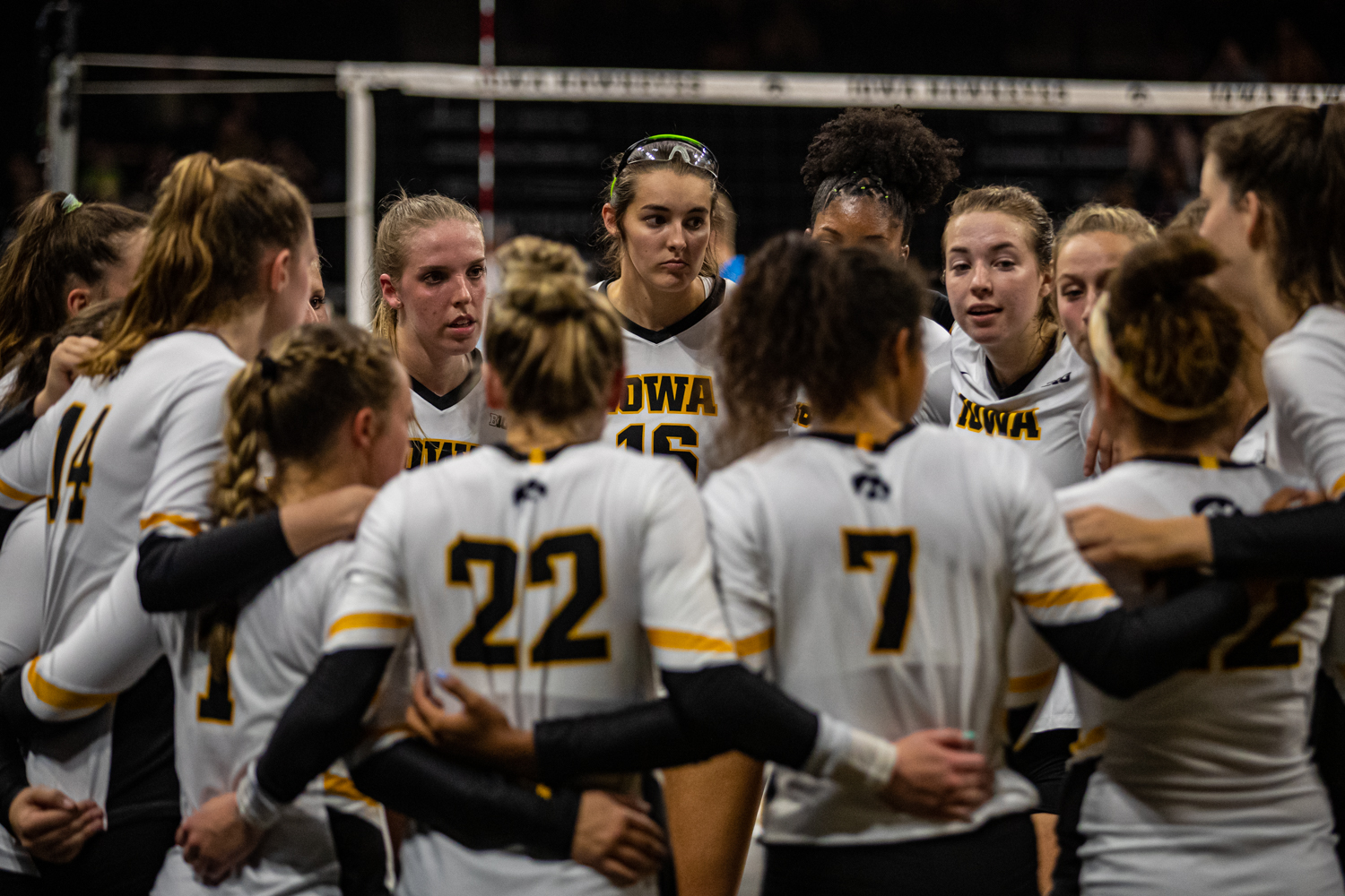 Iowa+players+huddle+between+sets+during+a+volleyball+match+between+Iowa+and+Colorado+in+Carver-Hawkeye+Arena+on+Friday%2C+September+6%2C+2019.+The+Hawkeyes+dropped+their+season+opener+to+the+Buffaloes%2C+3-0.