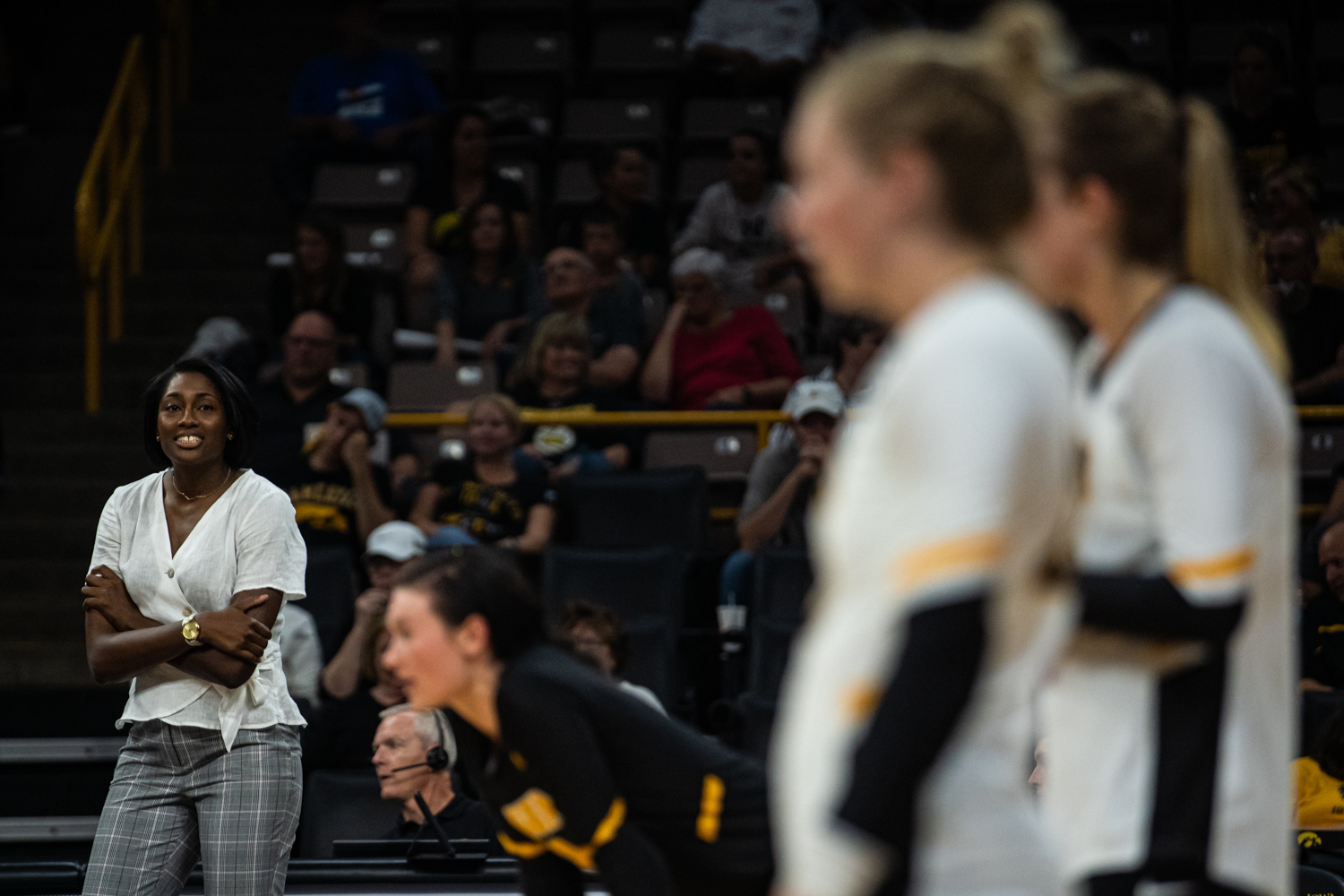Iowa+interim+head+coach+Vicki+Brown+watches+her+players+during+a+volleyball+match+between+Iowa+and+Colorado+in+Carver-Hawkeye+Arena+on+Friday%2C+September+6%2C+2019.+The+Hawkeyes+dropped+their+season+opener+to+the+Buffaloes%2C+3-0.