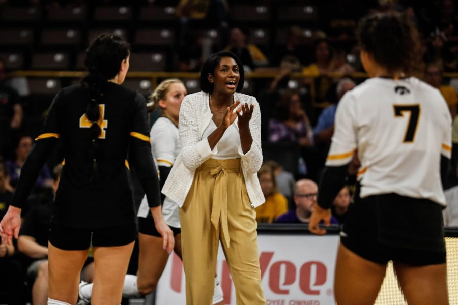 Iowa interim head coach Vicki Brown instructs her players during a volleyball match between Iowa and Washington at Carver Hawkeye Arena on Saturday, September 7, 2019. The Hawkeyes were defeated by the Huskies, 3-1.