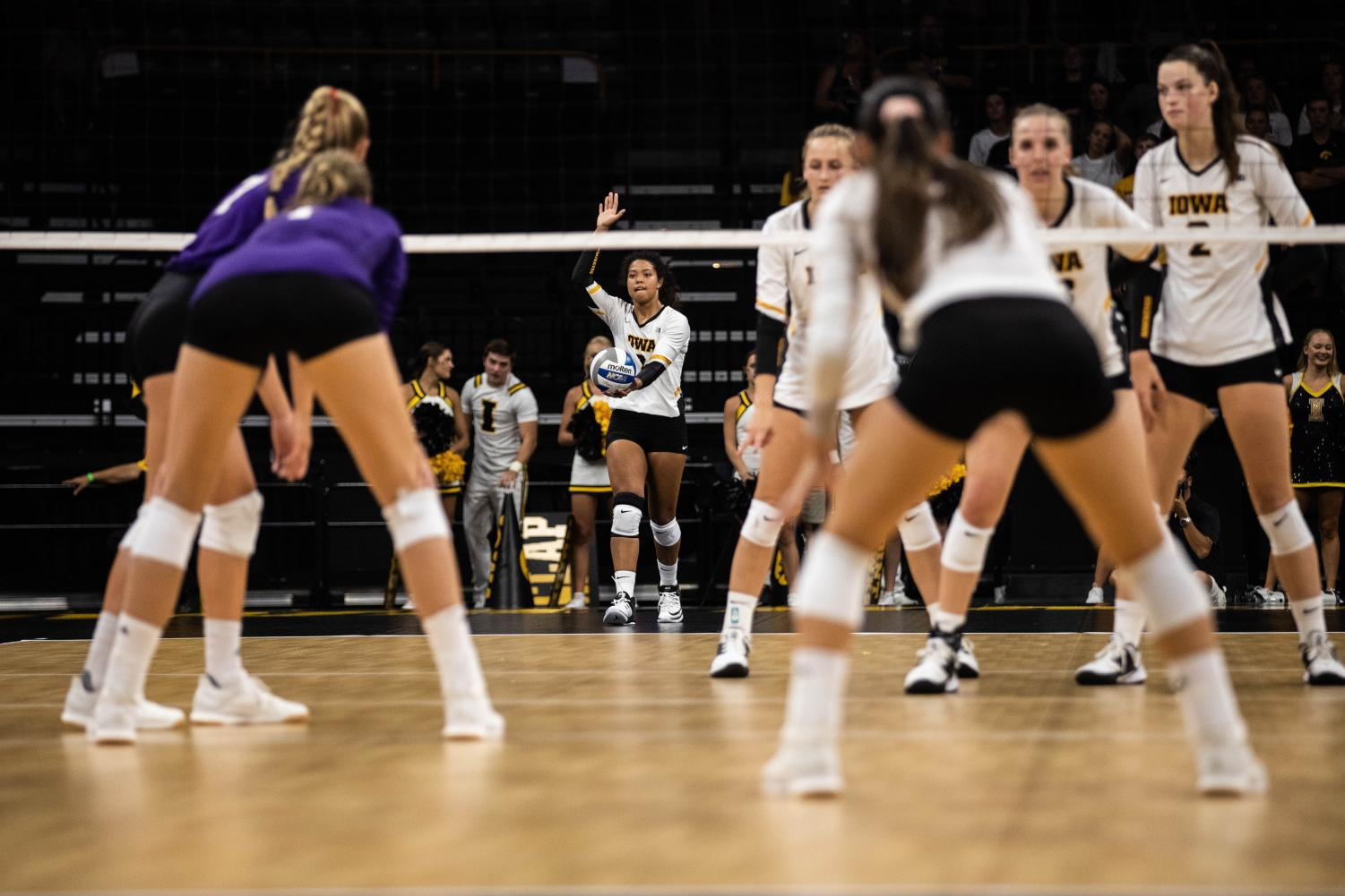 Iowa+setter+Brie+Orr+serves+the+ball+during+a+volleyball+match+between+Iowa+and+Washington+at+Carver+Hawkeye+Arena+on+Saturday%2C+September+7%2C+2019.+The+Hawkeyes+were+defeated+by+the+Huskies%2C+3-1.