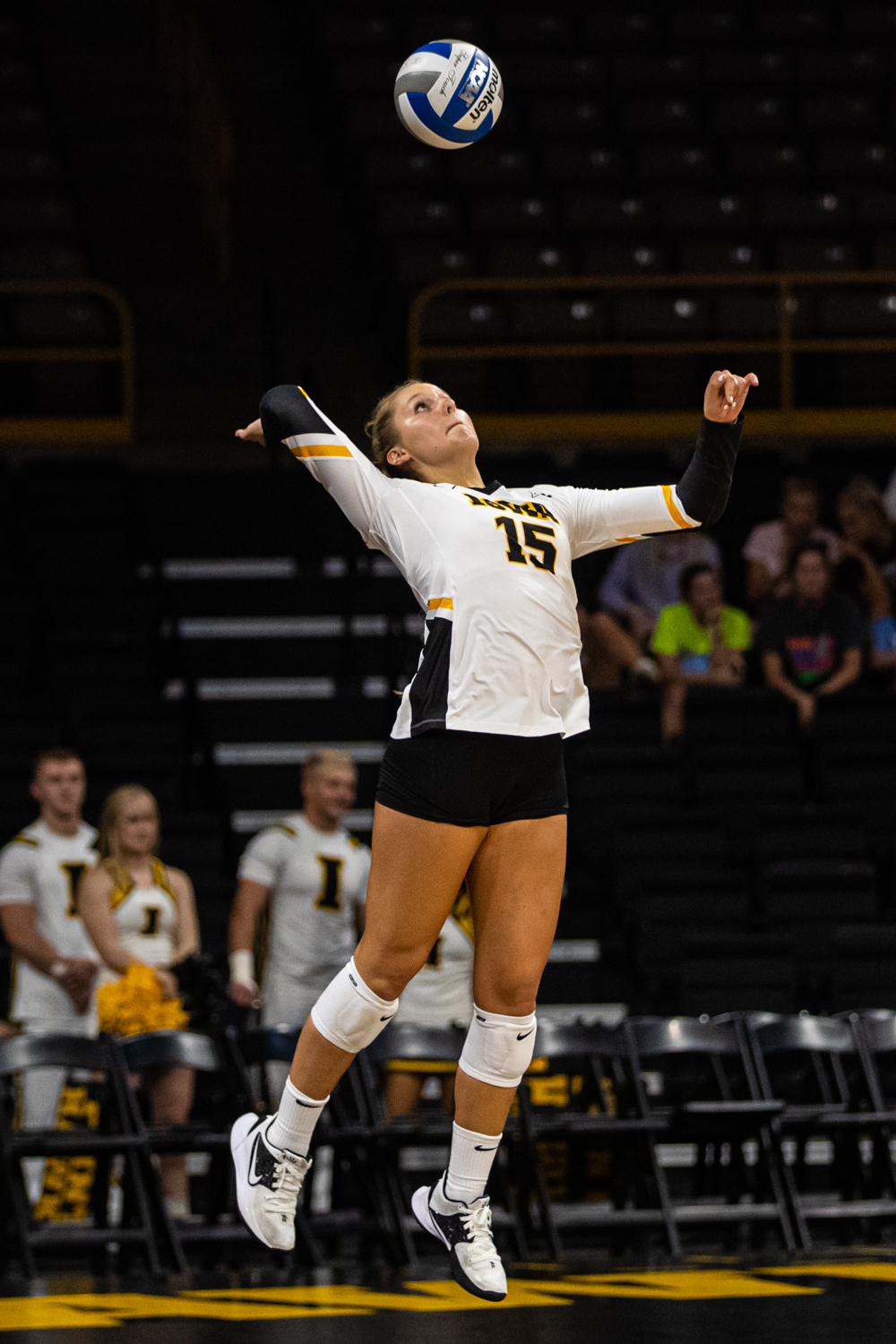 Iowa+defensive+specialist+Maddie+Slagle+serves+the+ball+during+a+volleyball+match+between+Iowa+and+Colorado+in+Carver-Hawkeye+Arena+on+Friday%2C+September+6%2C+2019.+The+Hawkeyes+dropped+their+season+opener+to+the+Buffaloes%2C+3-0.