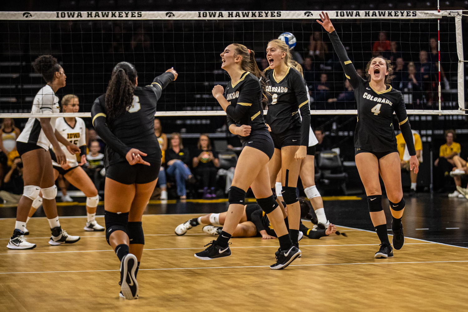 Colorado+players+celebrate+a+point+during+a+volleyball+match+between+Iowa+and+Colorado+in+Carver-Hawkeye+Arena+on+Friday%2C+September+6%2C+2019.+The+Hawkeyes+dropped+their+season+opener+to+the+Buffaloes%2C+3-0.