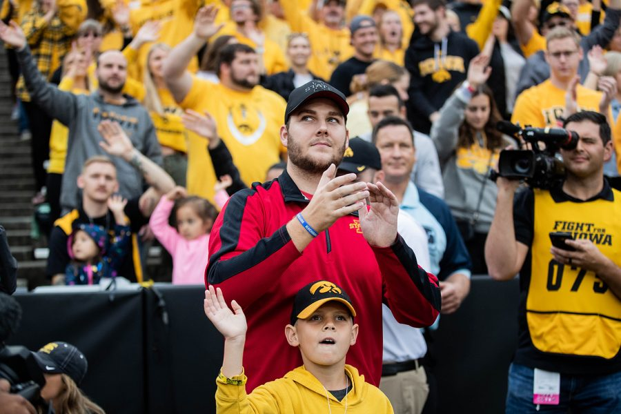Carson King claps during a football game between Iowa and Middle Tennessee State University on Sept. 28, 2019.