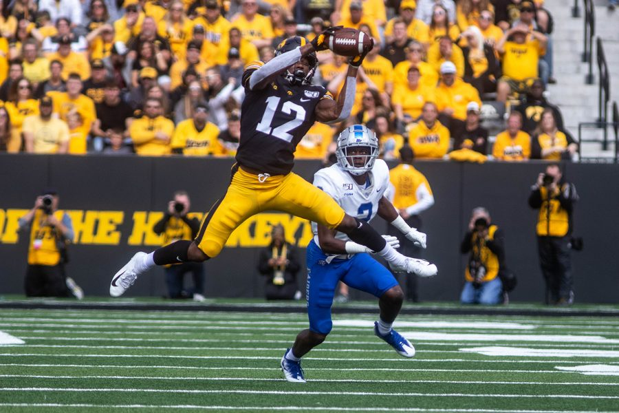 Iowa+wide+receiver+Brandon+Smith+completes+a+catch+during+a+football+game+between+Iowa+and+Middle+Tennessee+State+University+on+Saturday%2C+September+28%2C+2019.+The+Hawkeyes+defeated+the+Blue+Raiders+48-3.