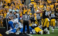 Iowa payers celebrate a touchdown during a football game between Iowa and Middle Tennessee State University on Saturday, September 28, 2019. The Hawkeyes defeated the Blue Raiders 48-3.