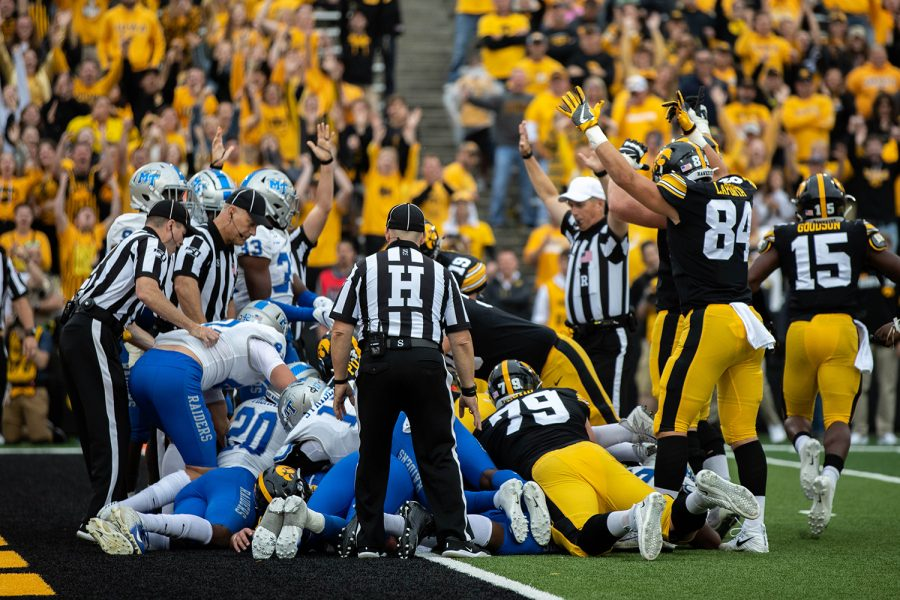 Iowa+payers+celebrate+a+touchdown+during+a+football+game+between+Iowa+and+Middle+Tennessee+State+University+on+Saturday%2C+September+28%2C+2019.+The+Hawkeyes+defeated+the+Blue+Raiders+48-3.